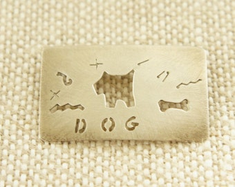 Silver Pin with Dog  and Bones Cut-Out signed ANNI
