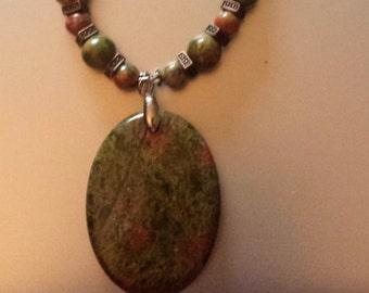 Unakite & Antique Copper Necklace Gorgeous
