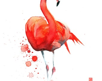 Flamingo Watercolor Painting Fine Art Giclee Print / Bird Painting / Animal Art / Wildlife Paintings