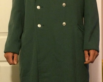 Vintage East German Soldier Winter Trench Coat