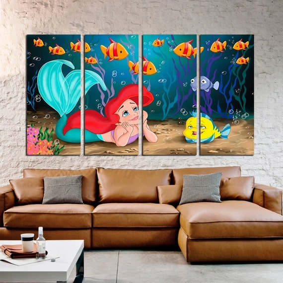 Little Mermaid Large Canvas Print Disney Art Kids Room
