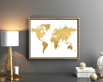 Copper wall art gold world map print custom quote rose gold gold world map download map poster map wall art digital download gold nursery poster world map gumiabroncs Images