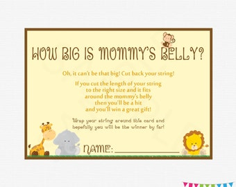 How Big is Mommy's Belly, Baby Shower Game, Safari Baby Shower Games, Jungle Baby Shower, Gender Neutral, Printable Download, BS0001-N