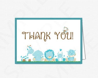 Blue Safari Baby Shower Thank You Cards Printable Thank you Cards Boy Baby Shower Thank Yous Blue Baby Shower Instant Download BS0001-B