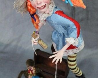 OOAK Art doll Pippi Longstocking height 17 inches (43 cm).