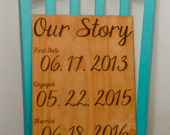 Our Story - Custom Sign - Wedding Date - First Date - Engaged Date