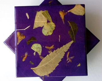 Ceramic Tile Coasters- Hand crafted Ceramic Tile Coasters,Hand -made Seed Paper,Kitchen Coasters,Beverage Coasters