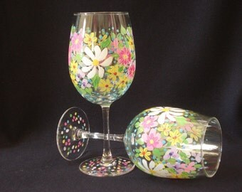 Spring Floral Wine Glasses. pink, yellow, white, and lavender wine glasses. Easter Wine Glasses
