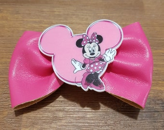 Minnie mouse inspired pink hair bow hairclip