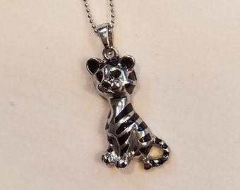 Adorable Silver-toned Tiger Cub Pendant