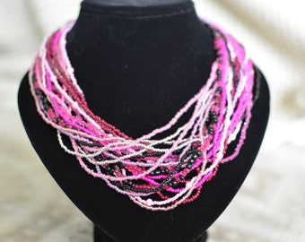 Beaded Necklace, Pink Necklace, Beaded Jewelry