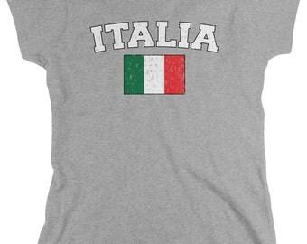 Distressed Italy Country Flag Ladies T-Shirt, Italian Pride, Italia, Nationality, Women's Italy Shirts AMD_ITA_02