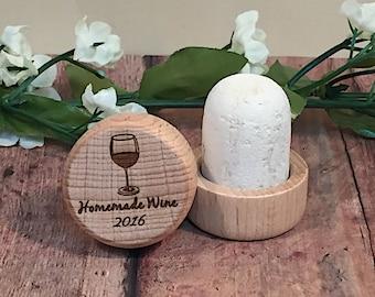 Homemade Wine Wine Cork - Engraved Wooden Wine Cork - Wine Cork for Wine Lover - Wine Cork Gift - Birthday Gift - Christmas Gift