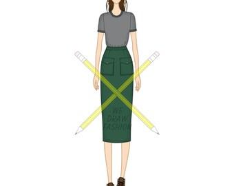 T-shirt and Midi Length Pencil Skirt, Templates for Fashion Design