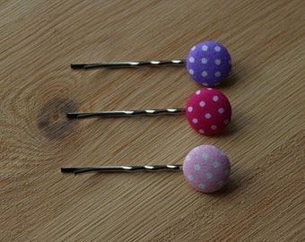 Polkadot hair slides - fabric pink, purple hair grip, personalised gift, kirby grip, birthday hair pin, Christmas gifts for her, vintage