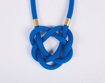 Knot rope necklace blue black gold