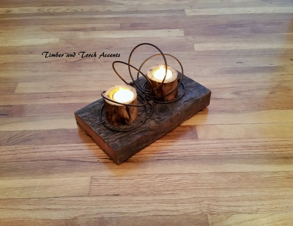 Rustic tea light centerpiece wood holder flameless