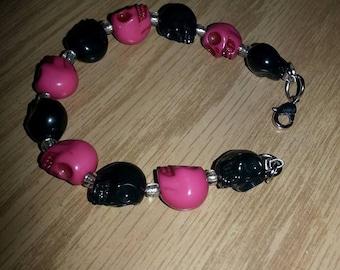 Pink and Black Skulls Bracelet