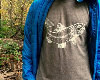Men's Rainbow Trout Tshirt, Graphic Tees for Men, Fishing Shirt, Gift, Hand Printed on Tri-blend Coffee Tshirt, Gift for Dad, Soft Tee