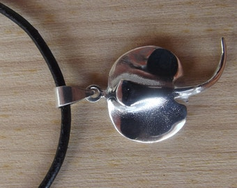 Pendant Skate Sterling Silver 925 + leather cord