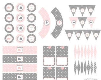 Printable Pink and Gray Elephant Baby Shower Party Kit | Girl Baby Shower | Instant Download
