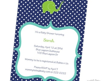 Navy and Lime Green Elephant Baby Shower Invitation | Printable Baby Shower Invitation | Digital Invitation