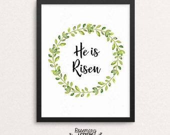 He Is Risen watercolor wreath, 8x10 & 5x7 printable, easter printable, easter print, spring art, wreath printable, He is Risen print