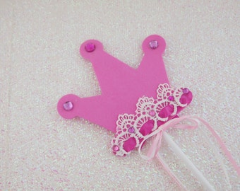 Pink Wand, Crown Wand, Party Wand, Princess Wand, Fairy Wand, Magic Wand, Pink Party Decor, Girls Party Accessories