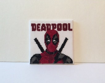 Deadpool - Small Completed Cross Stitch