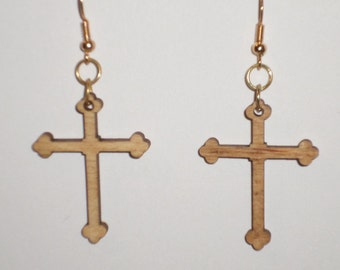Cross Earrings - Wood (PN 10009)