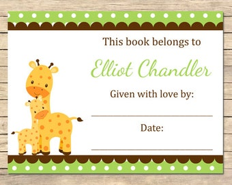 Green Giraffe Bookplates, Giraffe Polka Dot Bookplates, Green Shower Book Plates, Giraffe Shower Gift, Printable DIY Download, 005-G