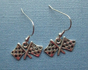Checkered Flag Earrings - Racing Earrings - Race Earrings - Dangle Earrings - Racing Jewelry -- E104