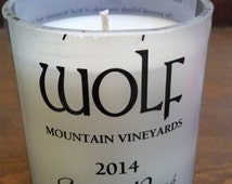 Wine Bottle Candle - Wolf Mountain Vineyards and Winery - Sunset Rose