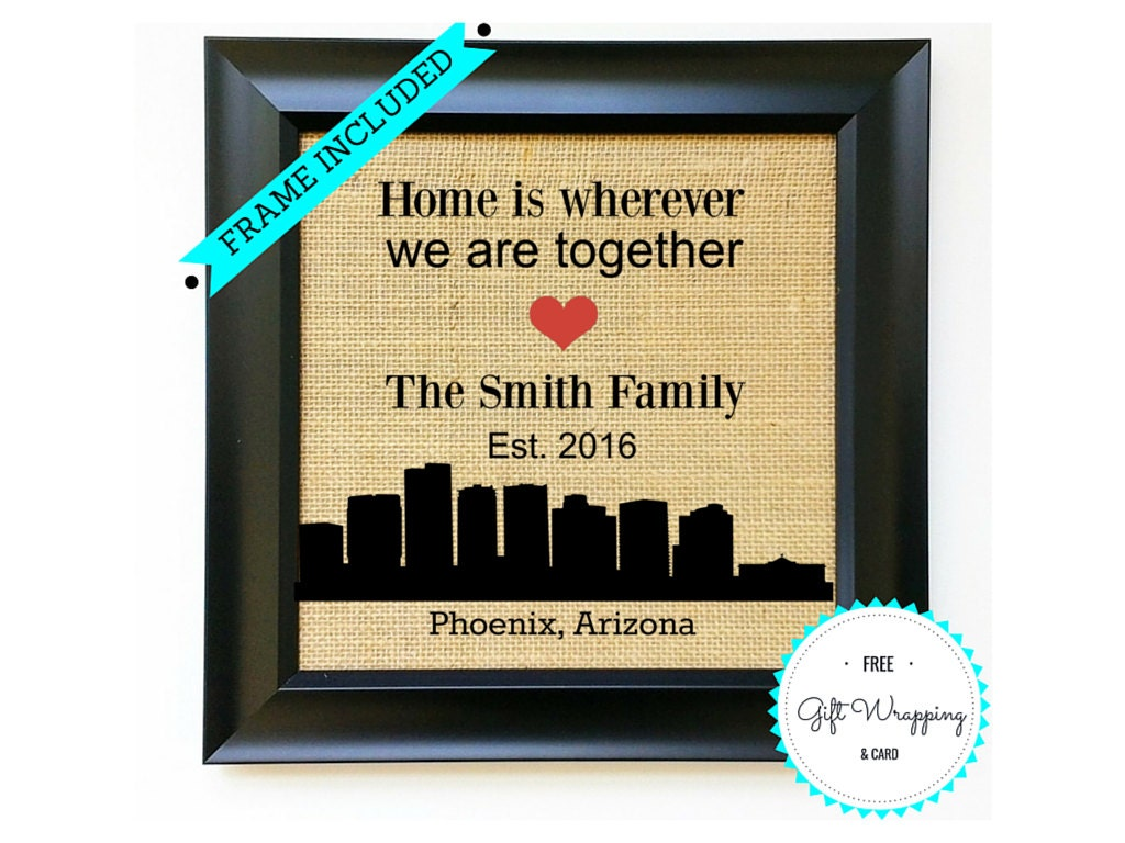 Phoenix Arizona Personalized Housewarming Gift For Family