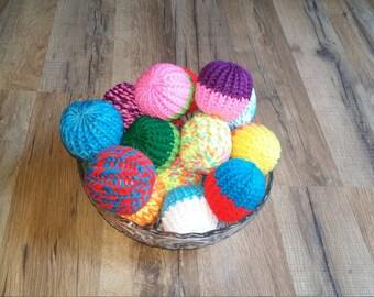 Organic Catnip Toy - Catnip Toy - Catnip Ball - Handmade - Knit Cat Toy - Knit Cat Ball - Cat Chaser - Yarn Cat Toy (Sets of 2 Multicolor)