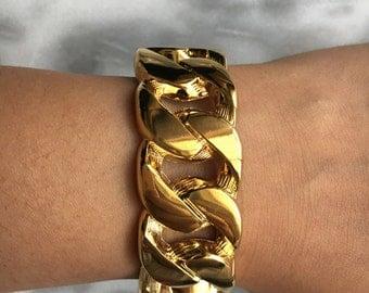 CURB  Gold Link Bracelet Bangle