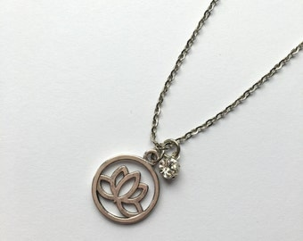 Silver Lotus Flower Charm Necklace