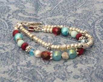 Pearl, silver, teal & burgundy glass beaded double strand bracelet, #SBD-03.