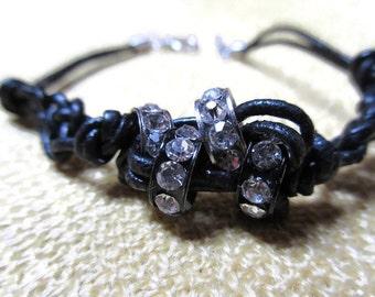 Black leather and rhinestone beads bracelet/Leather bracelet/Black Leather Bracelet/Braided bracelet/Braided leather bracelet