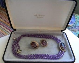Vintage Amethyst Collar Necklace Earrings Set - Vintage Amethyst Jewelry Set - Necklace Earrings Silver - Prom - Wedding