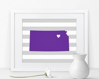 Manhattan Kansas State Map Art Print Kansas Sign Kansas State Art Map of Kansas Map Print Kansas Art Kansas Decor Kansas State Grad