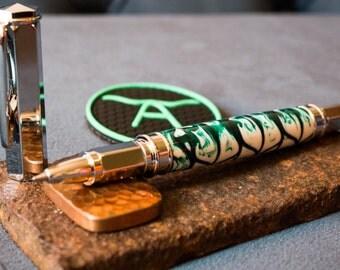 Green & White Rollerball Pen