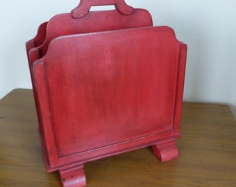 Vintage 1950's Magazine rack - painted red and lightly waxed - wooden magazine rack (stock#6380)