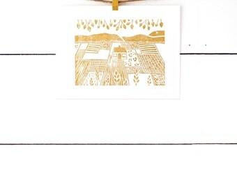 Scandinavian Folk Art Print, Lino Print, Linocut Print, Original Art, Manitoba, Block Print, Home Print, Relief Print, Home Decor