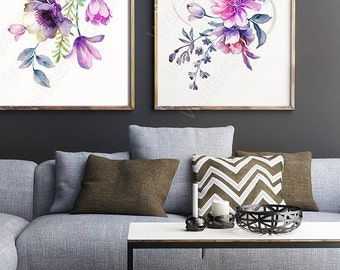 Watercolor Flower Art Prints - Set of 2 Floral Watercolor Art Prints Wall Decor Home Decor