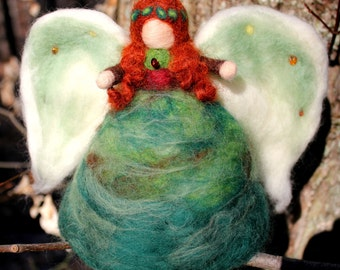 Angel of the Trees w/Amber Crystals (needle-felted & Waldorf-inspired)