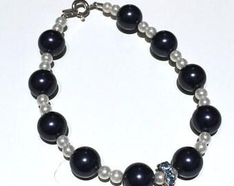 Blue & pearl bracelet