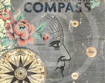 Steampunk Art, Steampunk Artwork, Steampunk Wall Art, Phrenology Artwork, Phrenology Art, Phrenology Artwork, Phrenology Art, Compass Art