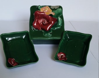 Johannes Brahm 1940s Cigarette Box with Two Ashtrays.