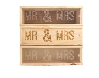 Wooden Wine Box (single) - Mr & Mrs